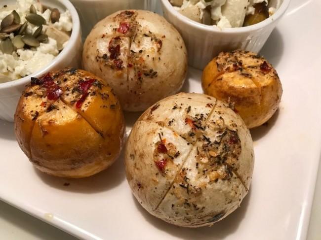 Helbakad majrova med vitlöks- och chilismör