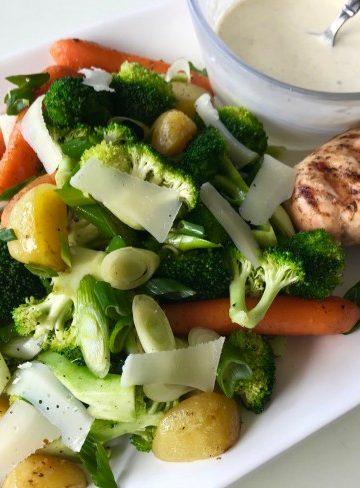 Grillade grönsaker med gräddig tryffelvinegrette